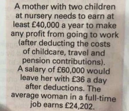 The cost of childcare and its impact on the employment market!
